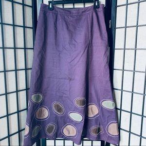 Boden plum maxi applique skirt size zip Sz 12R